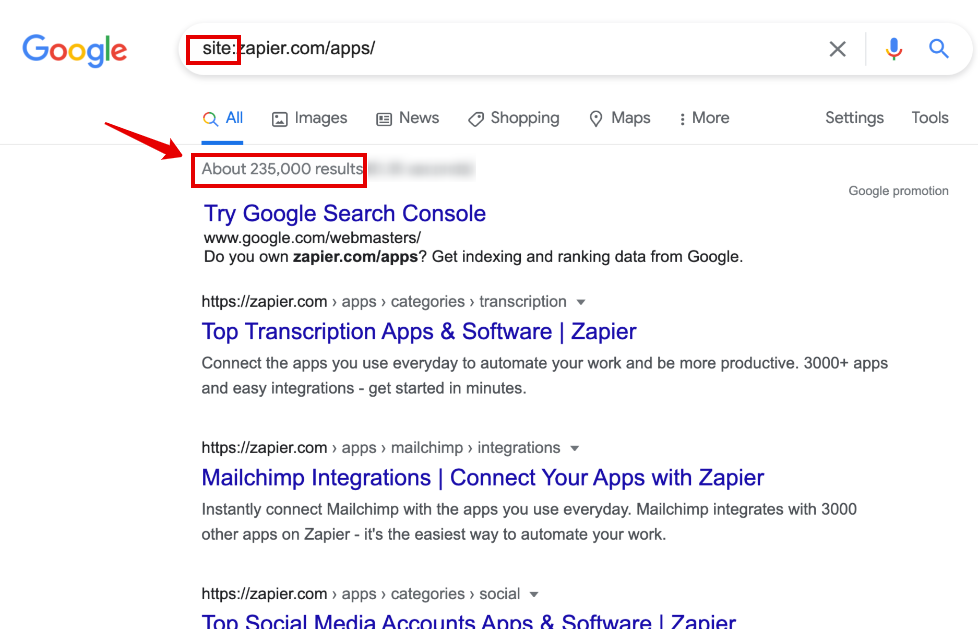 Zapier App related pages indexed by Google